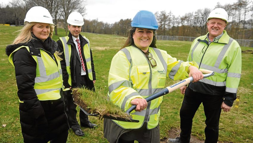 Karen Nicoll, Dundee City Council's David Godfrey, Councillor Lynne Short and Gavin Watson of DJ Laing at the sod-cutting ceremony.